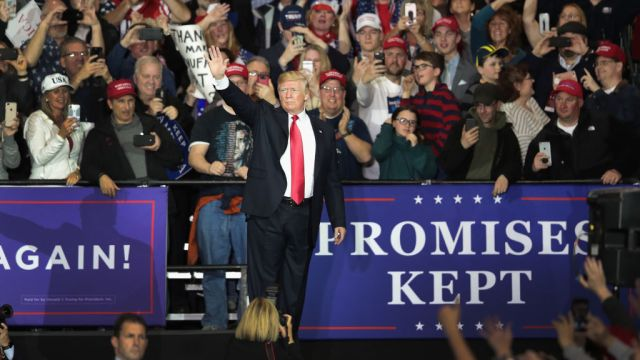 gettyimages 952548942 Trump Says He Relishes Enthusiasm, Love at Michigan Rally