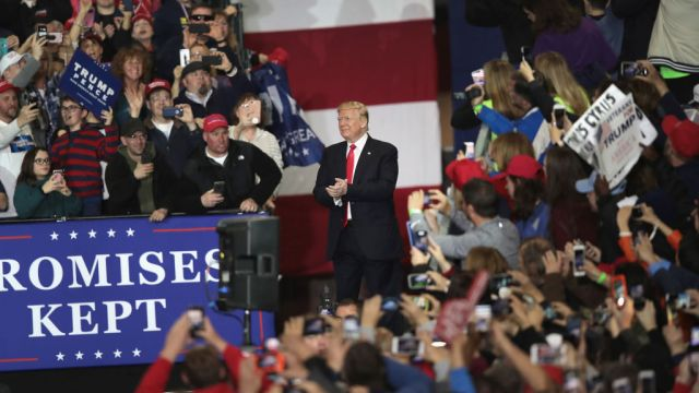 gettyimages 952548936 Trump Says He Relishes Enthusiasm, Love at Michigan Rally