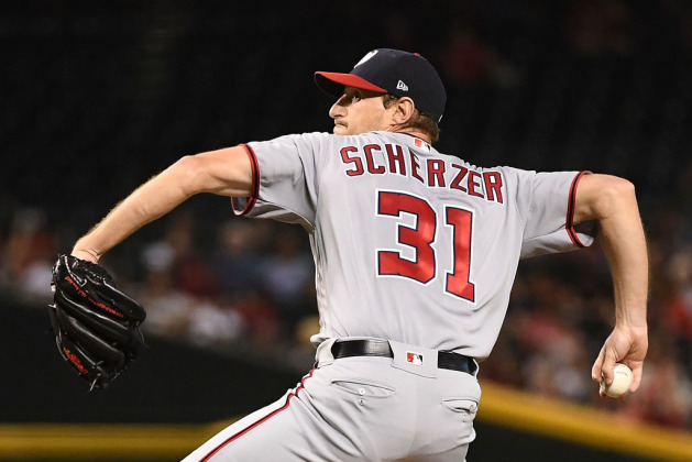 Max Scherzer #31 of the Washington Nationals delivers a pitch in the first inning of the MLB game against the Arizona Diamondbacks at Chase Field on May 11, 2018 in Phoenix, Arizona.
