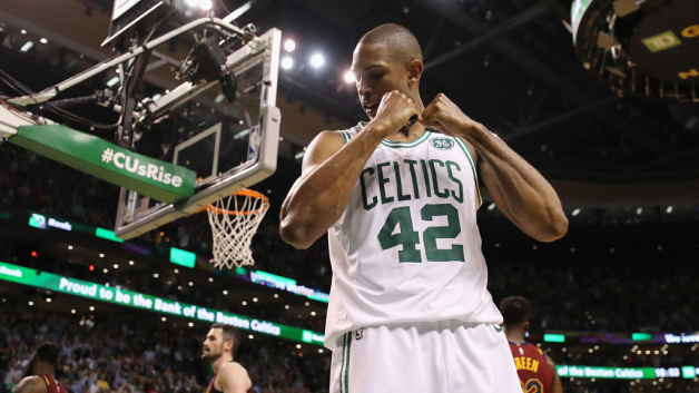 Al Horford #42 of the Boston Celtics reacts in the second half against the Cleveland Cavaliers during Game Two of the 2018 NBA Eastern Conference Finals at TD Garden on May 15, 2018 in Boston, Massachusetts.