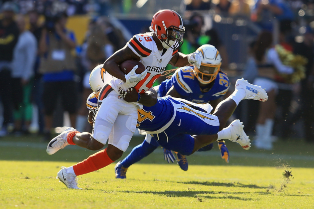 Melvin Ingram #54 of the Los Angeles Chargers tackles Corey Coleman #19 of the Cleveland Browns during the first half of the game at StubHub Center on December 3, 2017 in Carson, California.