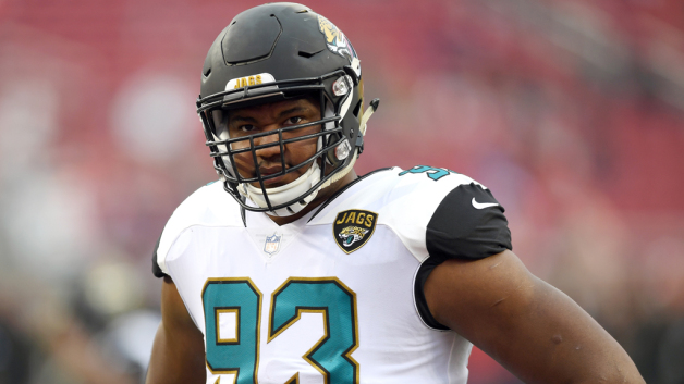 Calais Campbell #93 of the Jacksonville Jaguars looks on during pregame warm ups prior to the start of an NFL football game against the San Francisco 49ers at Levi's Stadium on December 24, 2017 in Santa Clara, California.