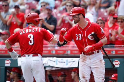 gettyimages 9795937262 Gennett, Suarez HRs rally Reds over Tigers 5 3