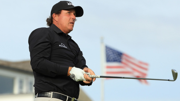 Phil Mickelson of the United States plays a shot during a practice round prior to the 2018 U.S. Open at Shinnecock Hills Golf Club on June 13, 2018 in Southampton, New York.