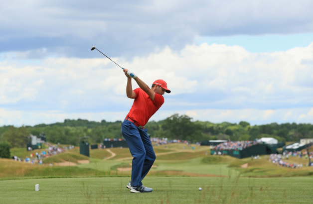 Sergio Garcia of Spain plays his shot from the fourth tee during the final round of the 2017 U.S. Open at Erin Hills on June 18, 2017 in Hartford, Wisconsin.