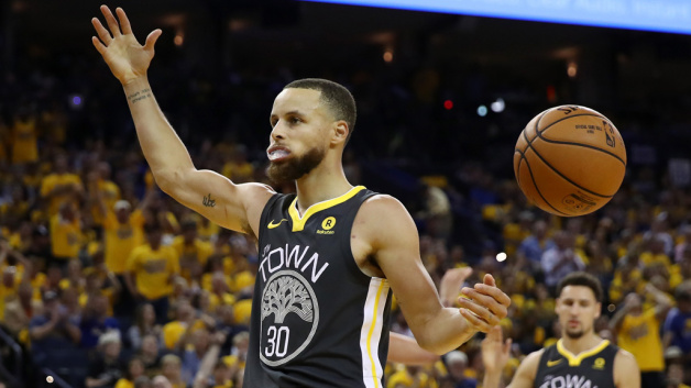 Stephen Curry #30 of the Golden State Warriors reacts against the Cleveland Cavaliers during the third quarter in Game 2 of the 2018 NBA Finals at ORACLE Arena on June 3, 2018 in Oakland, California.