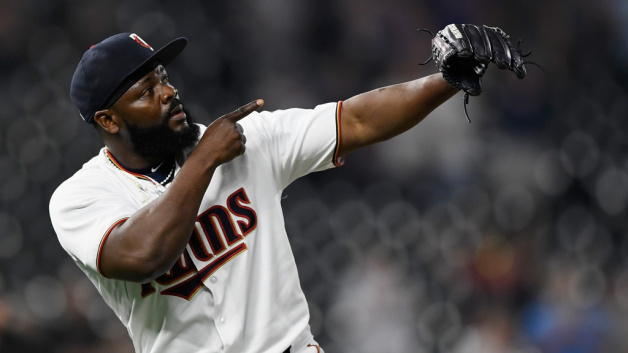 Fernando Rodney #56 of the Minnesota Twins celebrates defeating the Tampa Bay Rays after the game on July 12, 2018 at Target Field in Minneapolis, Minnesota. The Twins defeated the Rays 5-1.