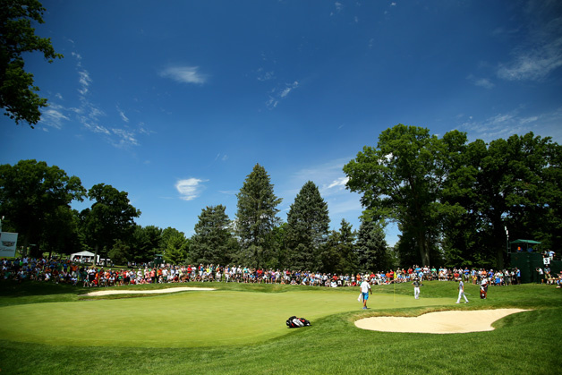 A general view as Jordan Spieth chips in on the third green during the second round of the World Golf Championships - Bridgestone Invitational at Firestone Country Club South Course on August 7, 2015 in Akron, Ohio.