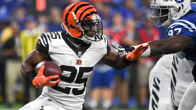 Giovani Bernard #25 of the Cincinnati Bengals runs the ball in the game against the Indianapolis Colts at Lucas Oil Stadium on September 9, 2018 in Indianapolis, Indiana.