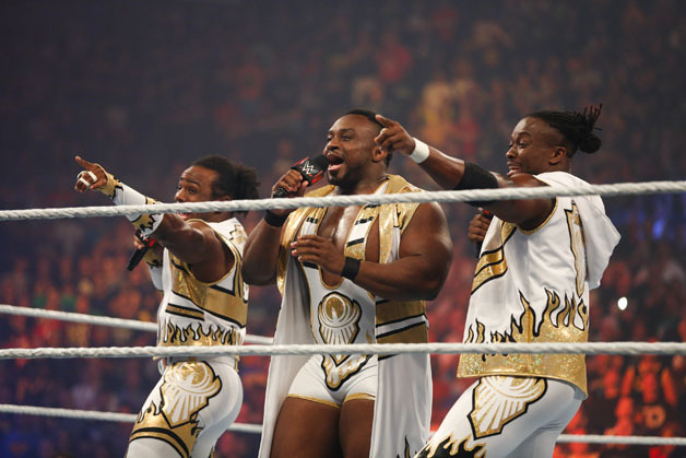 New Day enter the ring at the WWE SummerSlam 2015 at Barclays Center of Brooklyn on August 23, 2015 in New York City.