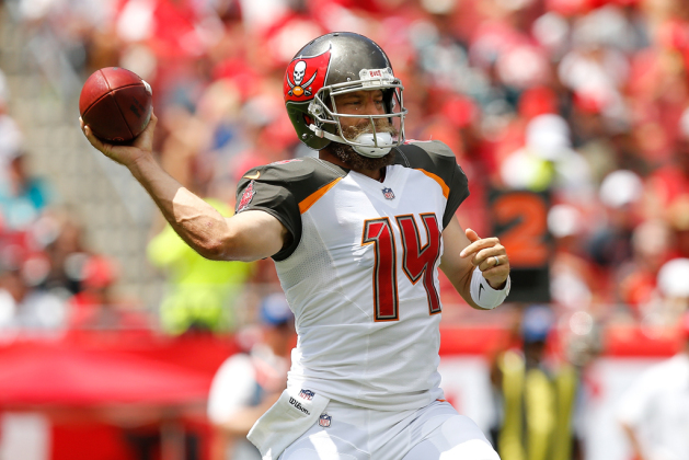 Ryan Fitzpatrick #14 of the Tampa Bay Buccaneers throws a pass against the Philadelphia Eagles during the first half at Raymond James Stadium on September 16, 2018 in Tampa, Florida.