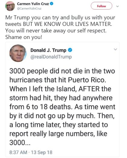 s098636356 President Trump Denies Report That Nearly 3,000 Died In Puerto Rico