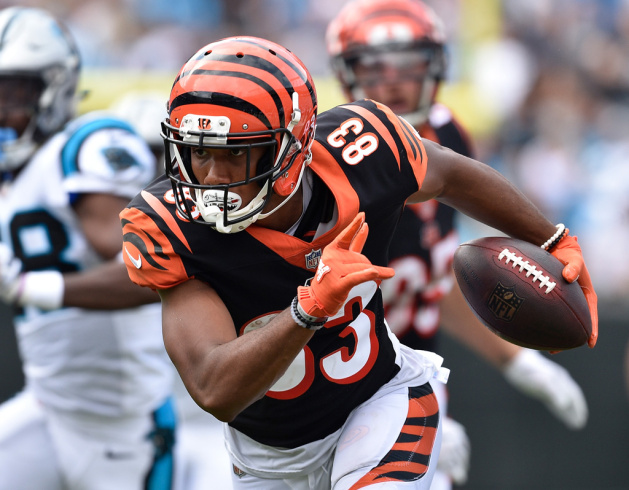 Tyler Boyd #83 of the Cincinnati Bengals against the Carolina Panthers during their game at Bank of America Stadium on September 23, 2018 in Charlotte, North Carolina. The Panthers won 31-21.