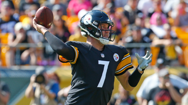 Ben Roethlisberger #7 of the Pittsburgh Steelers drops back to pass in the first quarter during the game against the Atlanta Falcons at Heinz Field on October 7, 2018 in Pittsburgh, Pennsylvania.