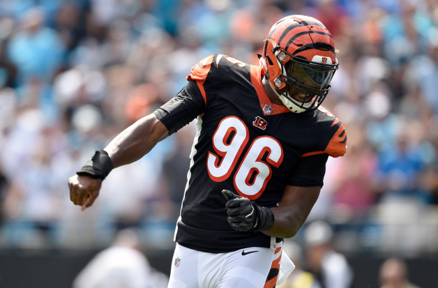 Carlos Dunlap #96 of the Cincinnati Bengals reacts after a defensive play against Carolina Panthers in the first quarter during their game at Bank of America Stadium on September 23, 2018 in Charlotte, North Carolina.