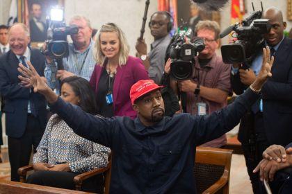 gettyimages 10518943741 Kanye West Tells Trump MAGA Hat Makes Him Feel Like Superman