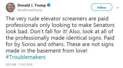 s099811891 1 President Trump Calls Kavanaugh Protestors Rude Elevator Screamers