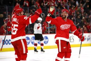 gettyimages 1056151126 Red Wings Beat Devils 4 3 With 2 Short Handed Goals In 3rd