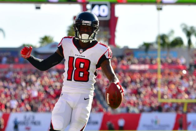 Calvin Ridley #18 of the Atlanta Falcons catches a 7-yard touchdown pass from Matt Ryan #2 during the fourth quarter against the Tampa Bay Buccaneers at Raymond James Stadium on December 30, 2018 in Tampa, Florida. The Falcons won 34-32.