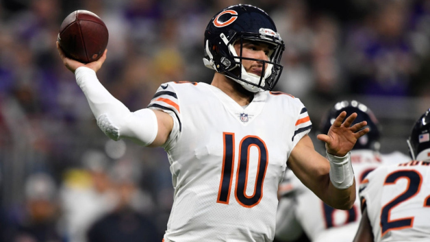 Mitchell Trubisky #10 of the Chicago Bears passes the ball in the second quarter of the game against the Minnesota Vikings at U.S. Bank Stadium on December 30, 2018 in Minneapolis, Minnesota.