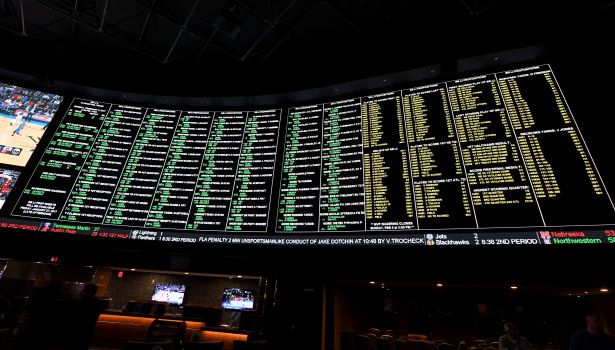 The betting line and some of the more than 400 proposition bets for Super Bowl LI between the Atlanta Falcons and the New England Patriots are displayed in Las Vegas
