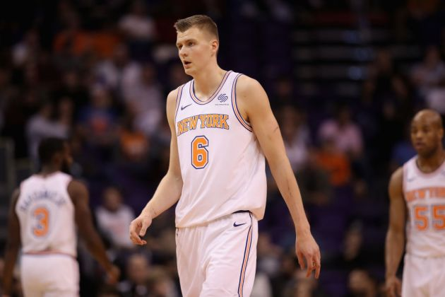 Kristaps Porzingis #6 of the New York Knicks during the NBA game against the Phoenix Suns at Talking Stick Resort Arena on January 26, 2018 in Phoenix, Arizona.