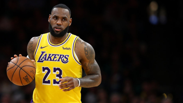 LeBron James #23 of the Los Angeles Lakers dribbles against the Boston Celtics during the second half at TD Garden on February 07, 2019 in Boston, Massachusetts.