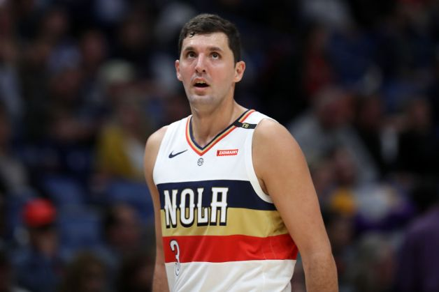 Nikola Mirotic #3 of the New Orleans Pelicans looks on against the Cleveland Cavaliers at Smoothie King Center on January 09, 2019 in New Orleans, Louisiana.
