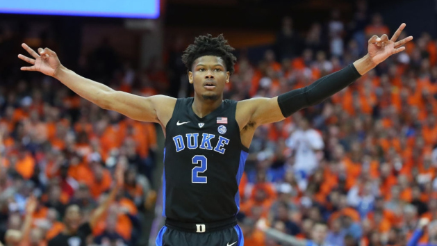 Cam Reddish #2 of the Duke Blue Devils reacts to a made three-point basket against the Syracuse Orange during the first half at the Carrier Dome on February 23, 2019 in Syracuse, New York.