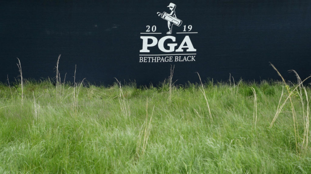 Signage is displayed during a practice round prior to the 2019 PGA Championship at the Bethpage Black course on May 13, 2019 in Bethpage, New York.